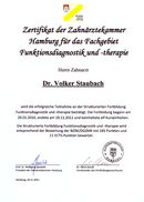 Certificate Functional Diagnostics and Therapy Hannover
