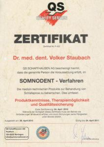 Zahnarzt Dr. Staubach Zertifikat Somnodent Verfahren