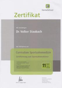 Zahnarzt Dr. Staubach Zertifikat Sportzahnmedizin