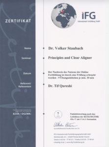 Zahnarzt Dr. Staubach Zertifikat Clear Aligner